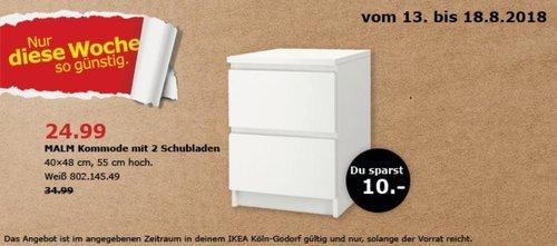 IKEA Köln-Godorf MALM Kommode mit 2 Schubladen - jetzt 29% billiger