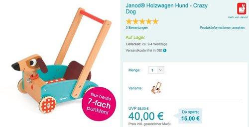 Janod Holzwagen Crazy Rabbit oder Crazy Dog - jetzt 9% billiger