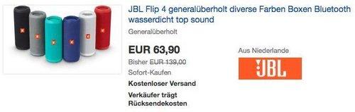 JBL Flip 4 Bluetooth Lautsprecher - Refurbished - jetzt 12% billiger