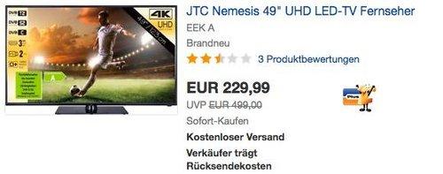 "JTC Nemesis 49"" UHD LED-TV Fernseher - jetzt 23% billiger"