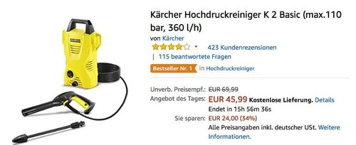 Kärcher Hochdruckreiniger K 2 Basic - jetzt 18% billiger