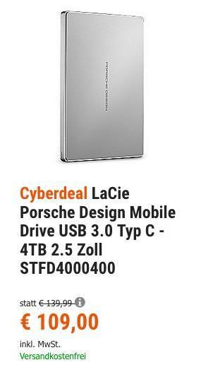 LaCie Porsche Design Mobile Drive USB 3.0 Typ C - 4TB 2.5 Zoll externe Festplatte - jetzt 13% billiger