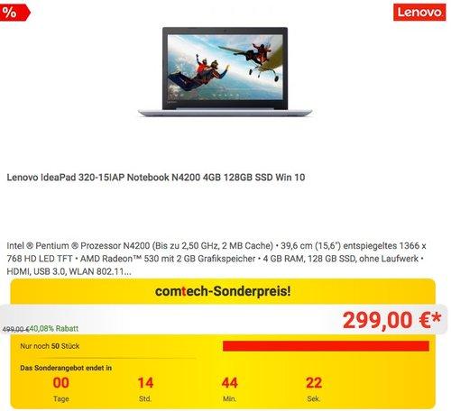 Lenovo IdeaPad 320-15IAP Notebook N4200 4GB 128GB SSD Win 10 - jetzt 32% billiger