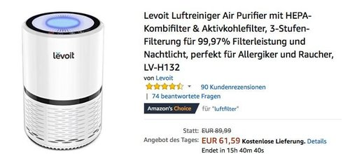 Levoit Luftreiniger Air Purifier mit HEPA-Kombifilter & Aktivkohlefilter - jetzt 25% billiger