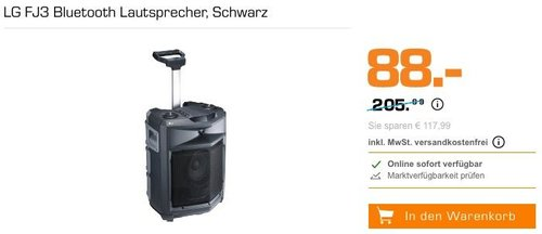 LG FJ3 Bluetooth Lautsprecher in Schwarz - jetzt 17% billiger