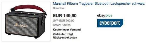 Marshall Kilburn Tragbarer Bluetooth Lautsprecher in Schwarz - jetzt 14% billiger