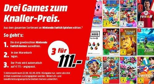 MediaMarkt Aktion: 3 Nintendo Switch Spiele für 111€ - jetzt 23% billiger