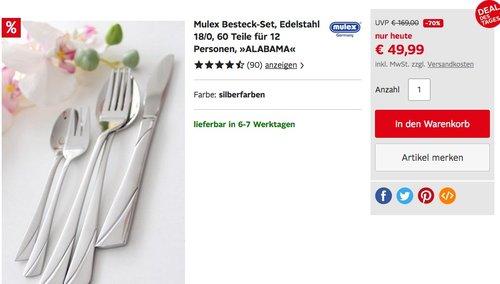 Mulex Besteck-Set ALABAMA, Edelstahl 18/0, 60 Teile für 12 Personen - jetzt 19% billiger