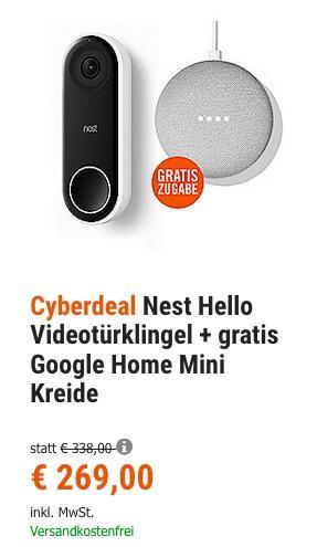 Nest Hello Videotürklingel + gratis Google Home Mini - jetzt 13% billiger