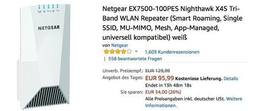 Netgear EX7500-100PES Nighthawk X4S Tri-Band WLAN Repeater - jetzt 15% billiger