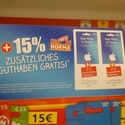 Norma Lebensmittel-Discounter:15% Extra-Guthaben beim Kauf von iTunes-Geschenkkarte 25€ und 50€ bis zum 12.08.18 - jetzt 13% billiger