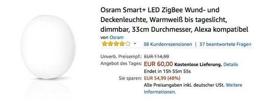 Osram Smart+ LED ZigBee Wund- und Deckenleuchte, 33cm Durchmesser, Alexa kompatibel - jetzt 28% billiger
