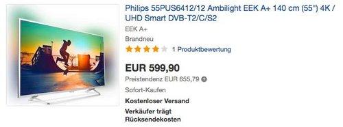 """Philips 55PUS6412/12 Ambilight EEK A+ 140 cm (55"""") 4K Fernseher - jetzt 12% billiger"""