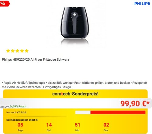 Philips HD9220/20 AirFryer Fritteuse - jetzt 12% billiger