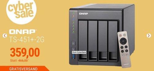 QNAP TS-451+-2G Desktop NAS Gehäuse mit 2 GB DDR3L RAM, 4-Bay Storage Server - jetzt 23% billiger