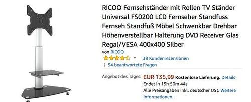 RICOO Fernsehständer mit Rollen TV Ständer Universal FS0200 - jetzt 24% billiger