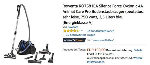 Rowenta RO7681EA Silence Force Cyclonic 4A Animal Care Pro Bodenstaubsauger - jetzt 25% billiger