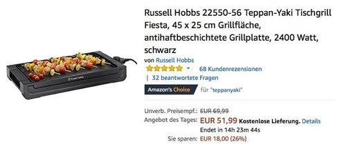 Russell Hobbs 22550-56 Teppan-Yaki Tischgrill Fiesta - jetzt 18% billiger