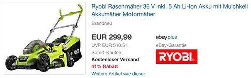 Ryobi Rasenmäher 36 V inkl. 5 Ah Li-Ion Akku mit Mulchkeil Akkumäher - jetzt 9% billiger
