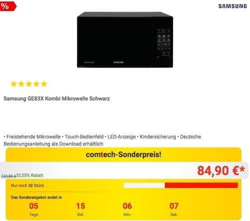 Samsung GE83X Kombi Mikrowelle Schwarz - jetzt 18% billiger