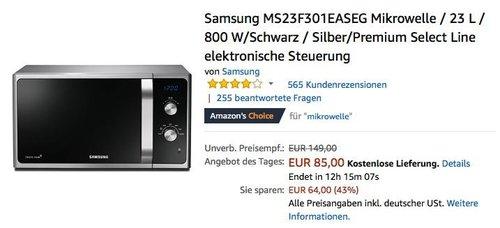 Samsung MS23F301EASEG Mikrowelle, 23 L, 800 W, Schwarz/Silber - jetzt 11% billiger