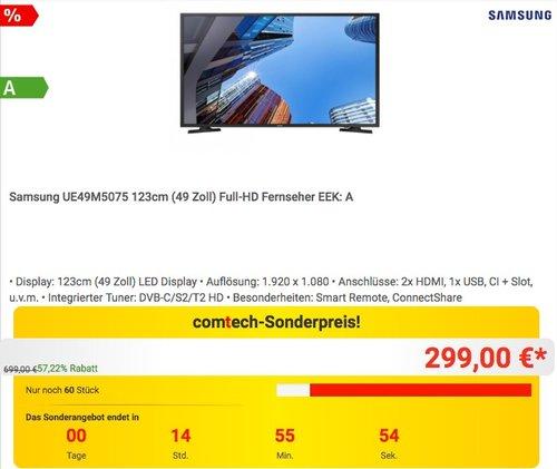 Samsung UE49M5075 123cm (49 Zoll) Full-HD Fernseher - jetzt 21% billiger