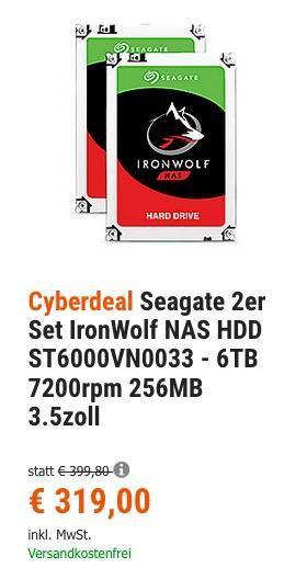 Seagate 2er  Festplatten-Set IronWolf NAS HDD ST6000VN0033 - 6TB 7200rpm 256MB 3.5 Zoll - jetzt 12% billiger