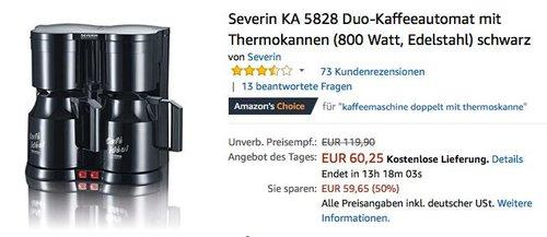 Severin KA 5828 Duo-Kaffeeautomat mit Thermokannen - jetzt 18% billiger