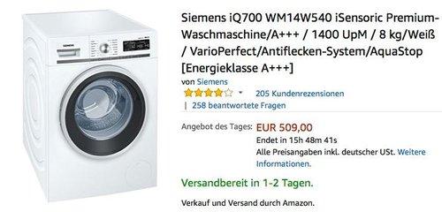 Siemens iQ700 WM14W540 iSensoric Premium-Waschmaschine, A+++, 8 kg - jetzt 10% billiger