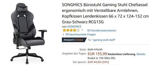 SONGMICS Bürostuhl Gaming Stuhl Chefsessel  Grau-Schwarz RCG13G - jetzt 9% billiger