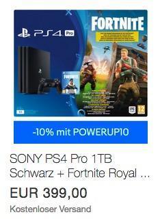 SONY PlayStation 4 Pro 1TB Schwarz + Fortnite Royal Bomber Pack Voucher - jetzt 10% billiger
