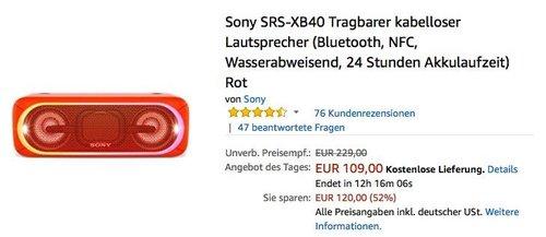 Sony SRS-XB40 Tragbarer kabelloser Bluetooth-Lautsprecher in Rot - jetzt 22% billiger
