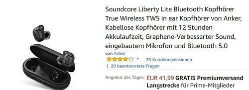 Soundcore Liberty Lite Bluetooth Kopfhörer - jetzt 20% billiger