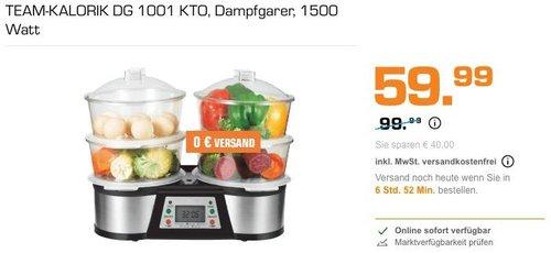 TEAM-KALORIK DG 1001 KTO Dampfgarer, 1500 Watt - jetzt 17% billiger