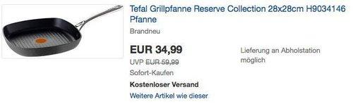 Tefal H9034146 Reserve Collection Grillpfanne 28 cm - jetzt 36% billiger
