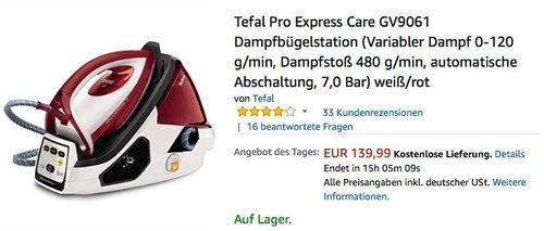 Tefal Pro Express Care GV9061 Dampfbügelstation - jetzt 23% billiger