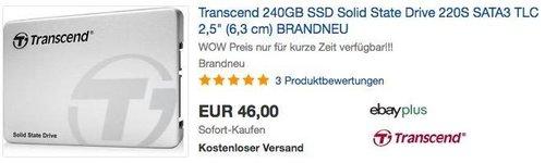 Transcend 240GB SSD interne Festplatte - jetzt 15% billiger
