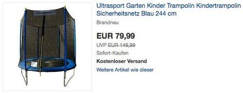 Ultrasport Garten Kindertrampolin 244 cm - jetzt 47% billiger