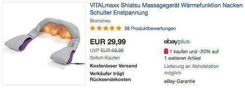 VITALmaxx Shiatsu Massagegerät 2-tlg. grau/lila - jetzt 25% billiger