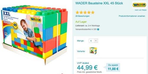 WADER XXL Bausteine 45 Stück - jetzt 9% billiger