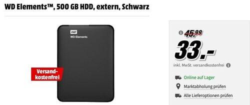 WD Elements Portable externe Festplatte - 500 GB - jetzt 28% billiger