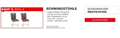 XXXLutz - 6 Novel Schwingstühle kaufen und nur 4 zahlen - jetzt 33% billiger