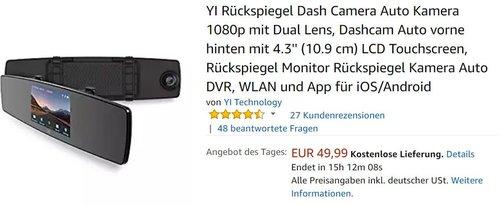 YI Rückspiegel Dashcam 1080p - jetzt 30% billiger
