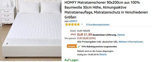 15 % Rabatt auf HOMFY Matratzenschoner 90x200cm, 140x200cm, 160x200cm - jetzt 15% billiger