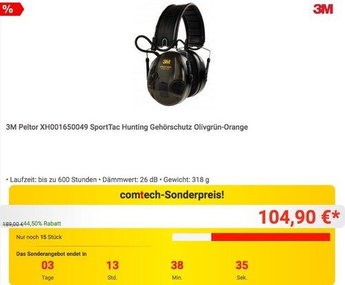 3M Peltor SportTac Hunting Gehörschutz in Olivgrün-Orange - jetzt 12% billiger