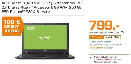 ACER Aspire 3 (A315-41-R7VY) Notebook, AMD Ryzen™ 7 2700U Prozessor, 8 RG RAM, 256 SSD - jetzt 13% billiger
