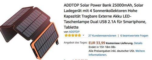 ADDTOP Solar Power Bank 25000mAh mit 4 Sonnenkollektoren - jetzt 23% billiger