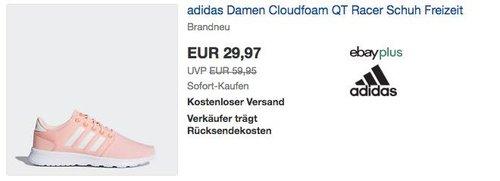 adidas Damen Cloudfoam QT Racer Schuh White/Orange - jetzt 28% billiger