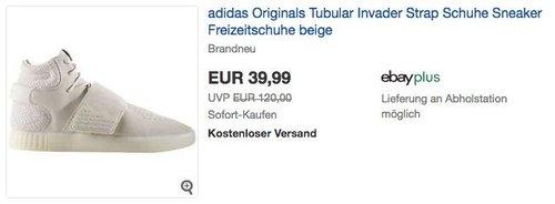 adidas Originals Tubular Invader Strap Sneaker in Beige - jetzt 20% billiger