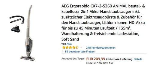 AEG Ergorapido CX7-2-S360 ANIMAL beutel- & kabelloser 2in1 Akku-Handstaubsauger - jetzt 16% billiger